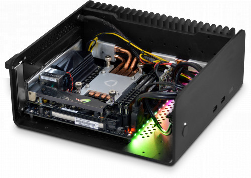 Photo showing internal component layout - internal tray has been removed to give a better view. Motherboard RGB lights can be turned off, previous X470-I motherboard shown.